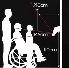 FaceStation 2 permite el mayor rango de altura de 145cm ~ 210cm. Gracias al soporte de inclinación opcional, FaceStation2 también permite adaptarse a adultos y niños en sillas de rueda.
